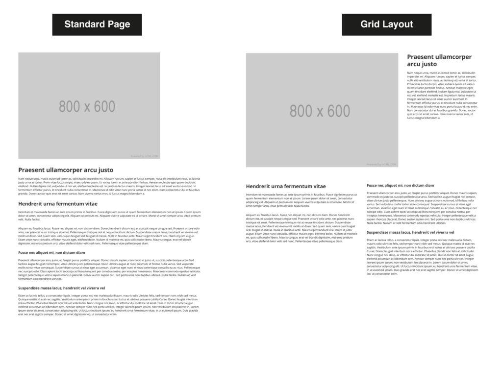 Standard Page versus Grid layout